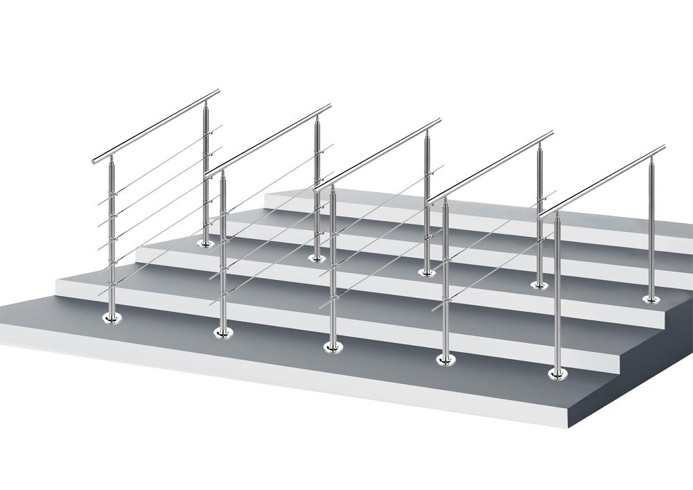 Rampe escalier Acier inoxydable 5 Tiges 160cm Rambarde Main Courante Balustrade