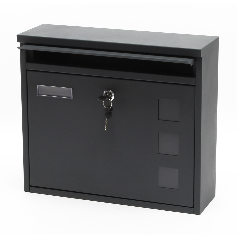 briefkasten postbox design anthrazit pulverbeschichtet postkasten mailbox v12 ebay. Black Bedroom Furniture Sets. Home Design Ideas