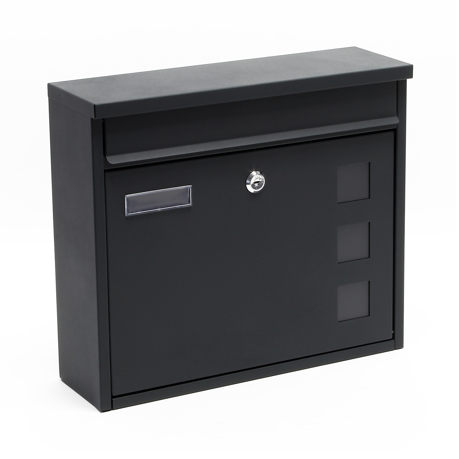 briefkasten postbox design silber pulverbeschichtet wandbriefkasten mailbox v12 ebay. Black Bedroom Furniture Sets. Home Design Ideas
