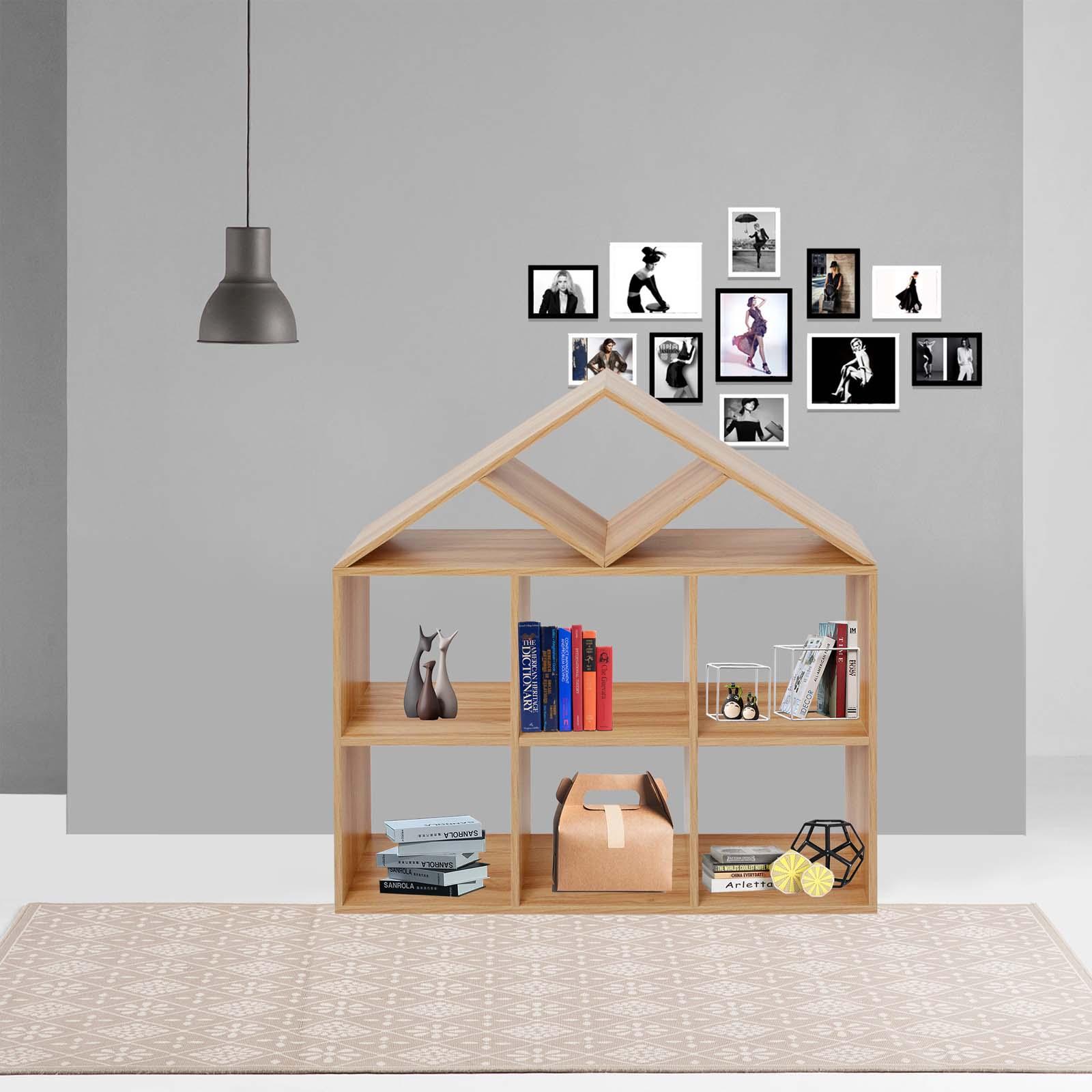 Details About Shelf Shelving Display Unit Bookcase Room Divider House Shaped 9 Lattices Oak