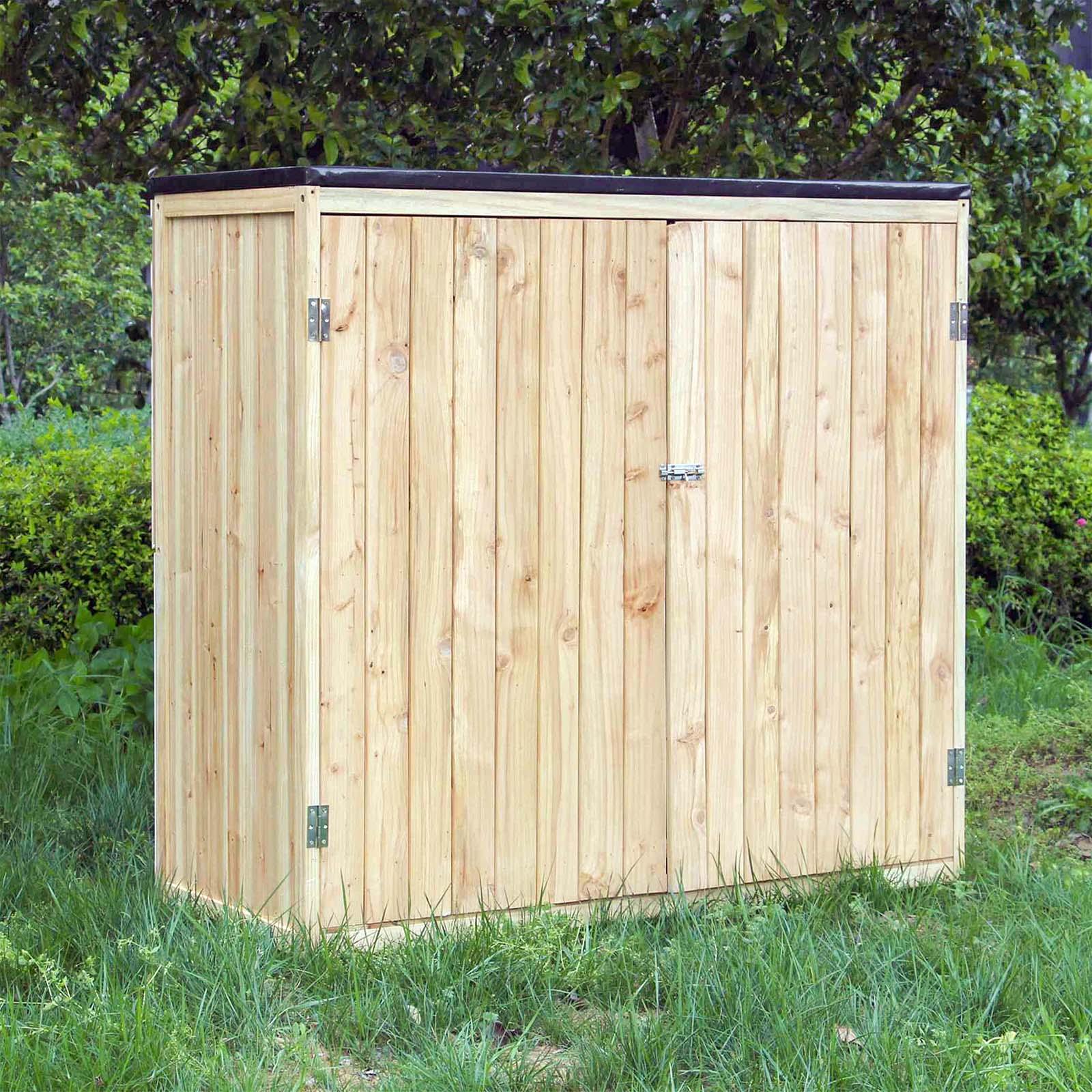 Cabane À Outils Bois détails sur armoire de jardin bois naturel double porte rangement outils  abri cabane remise