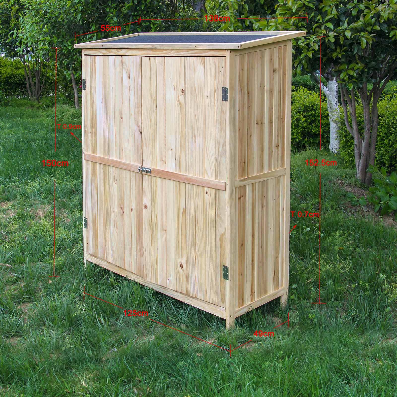 Details zu Armoire de jardin Bois naturel Double porte Rangement Outils  Abri Cabane Remise