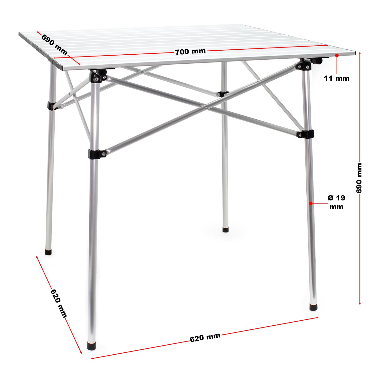 Table de camping en aluminium sur roulettes avec plateau de ...