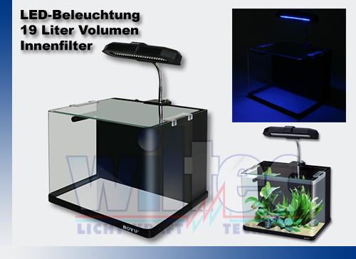 boyu nano aquarium set cube 19l garnelenbecken led leuchte. Black Bedroom Furniture Sets. Home Design Ideas