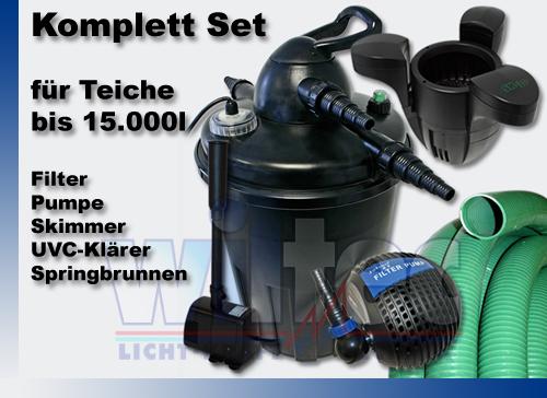 druckfilter set1 15000l 24w uvc kl rer pumpe springbrunnen skimmer teichfilter ebay. Black Bedroom Furniture Sets. Home Design Ideas